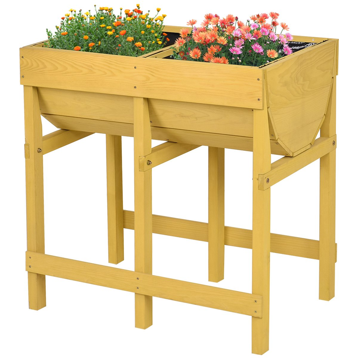 Giantex Raised Wooden V Planter Elevated Vegetable Flower Bed Free Standing Planting Container with Black Liner(Tawny V Planter) by Giantex