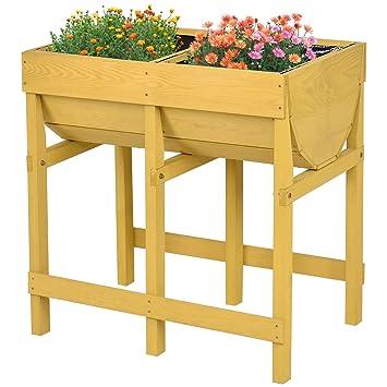 Giantex Raised Wooden V Planter Elevated Vegetable Flower Bed Free Standing Planting(Tawny V Planter)