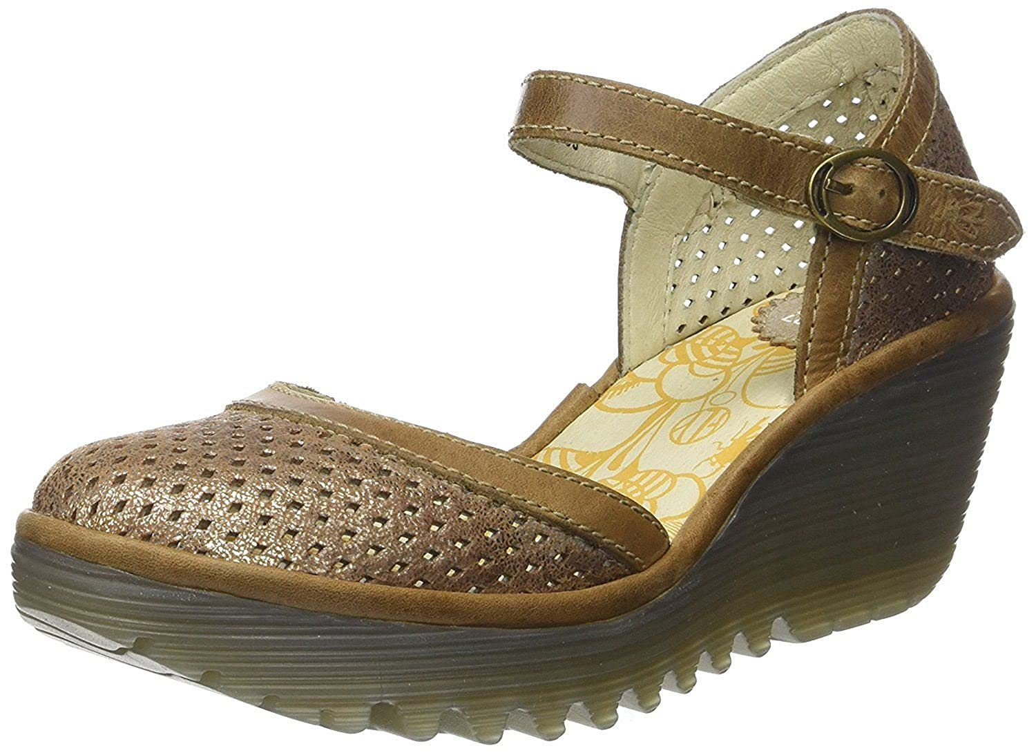 #Fly London Yupi840fly Camel Womens Leather Wedge Shoes