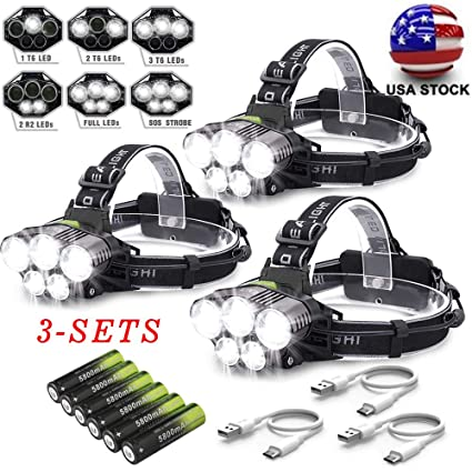 90000LM 5*T6 LED Headlamp Rechargeable Head Light Flashlight Torch Lamp+Battery*