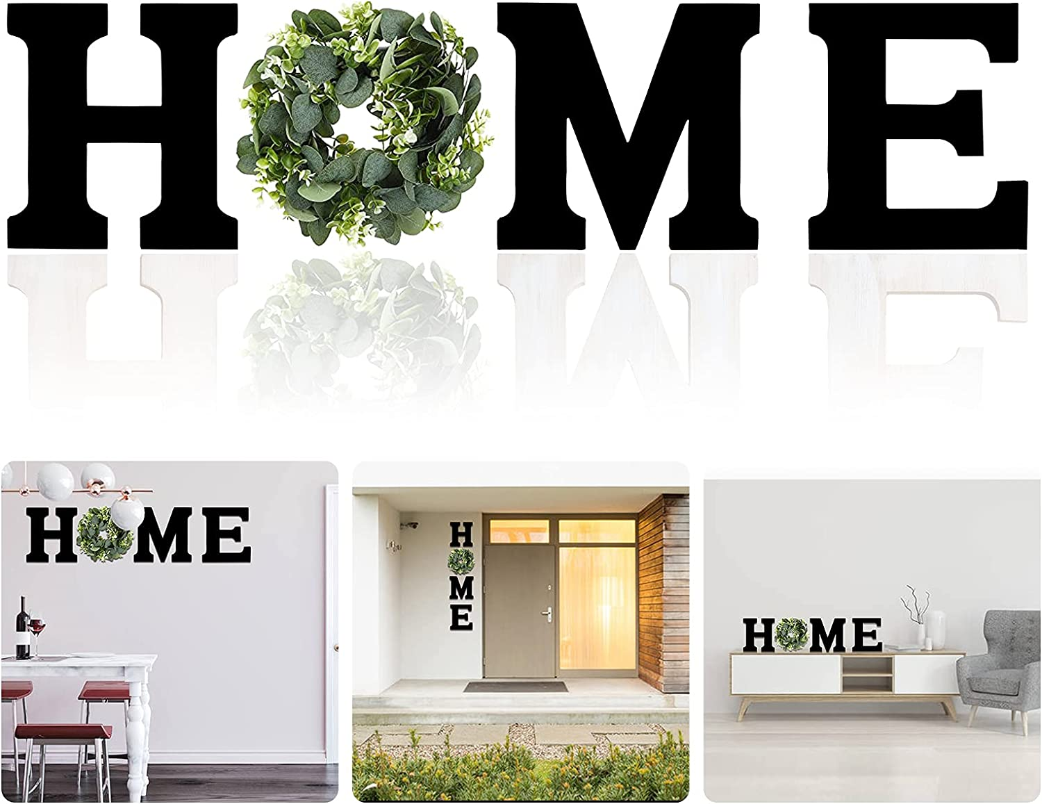Wooden Home Sign Wall Hanging Decoration Home Letter Wall Decor-Artificial Eucalyptus Wreath Wood Hanging Wall Art Decorations for Living Room Bedroom Outdoor (Black)