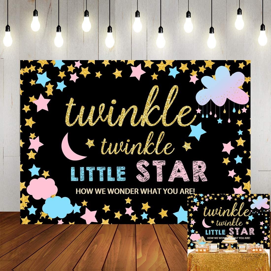 Twinkle Twinkle Little Star Backdrop Gender Reveal Party Banner 7x5ft Vinyl Pink and Blue Cloud Background for Photography Baby Shower Decorations