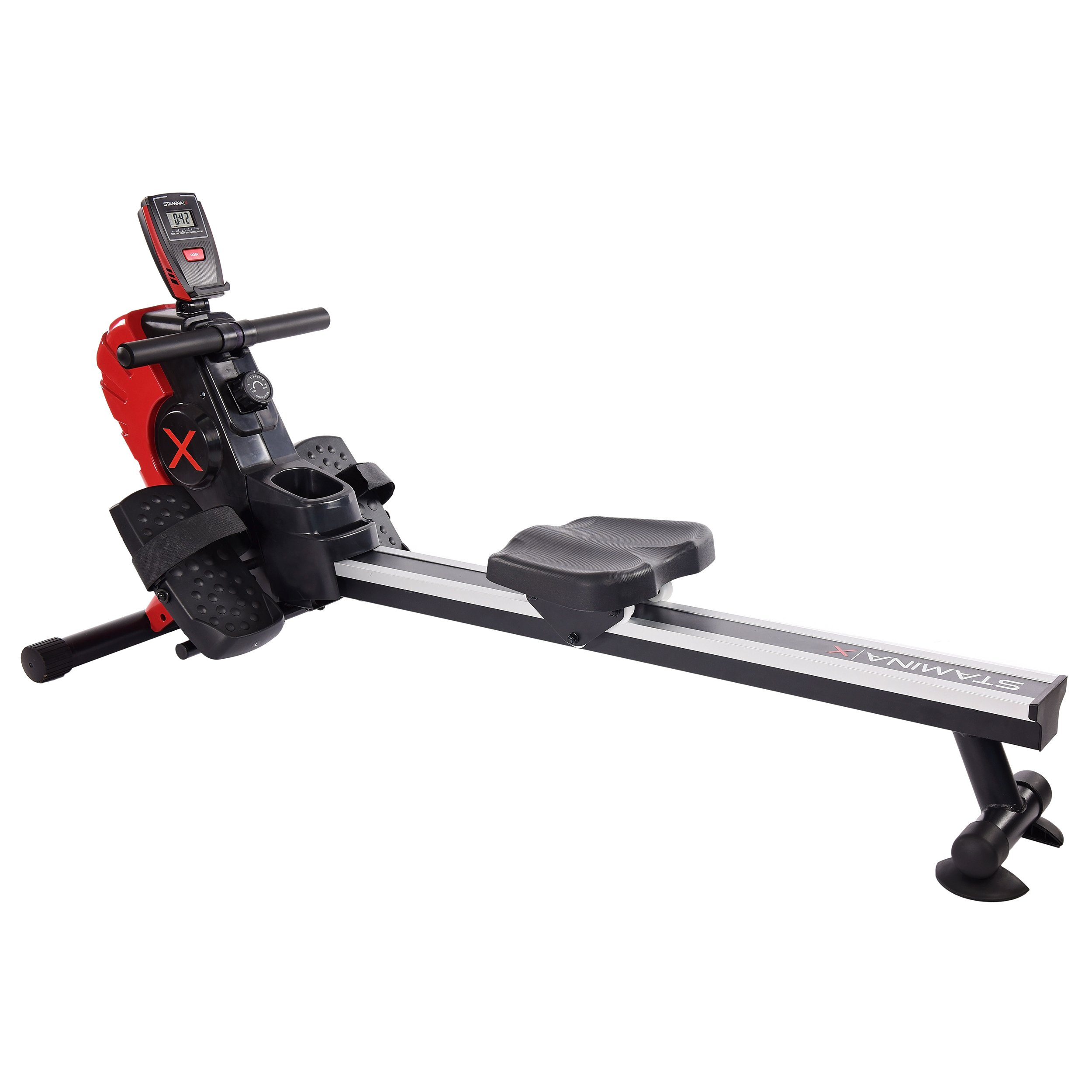 Stamina X Magnetic Rower with 8 Level Magnetic Resistance, Multi-Functional Workout Monitor, and Floor Protectors (Red)