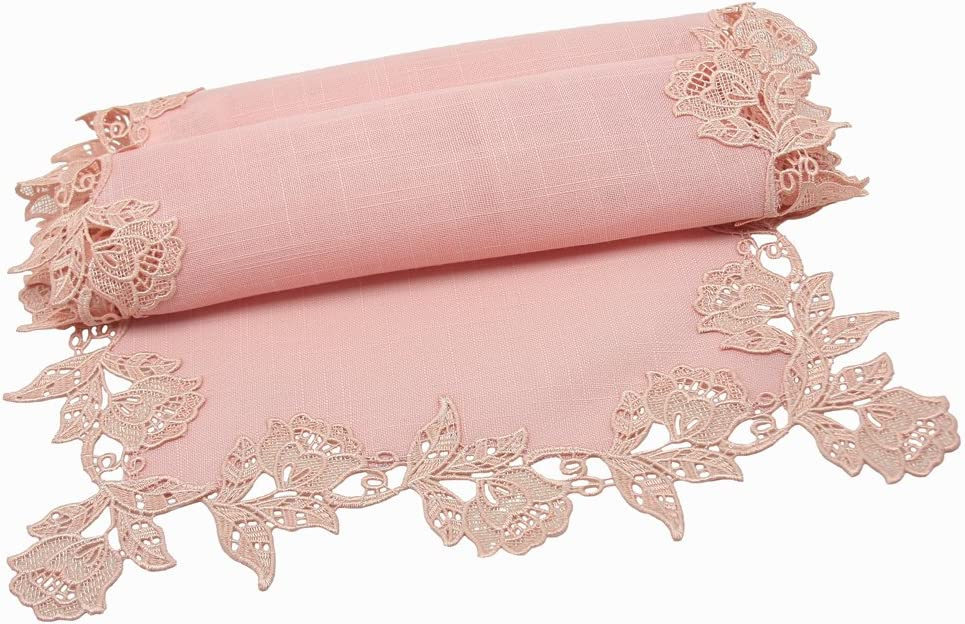 """Manor Luxe English Lace Trim Table Runner, 16 by 72-Inch, Rose Quartz, 16""""x72"""""""