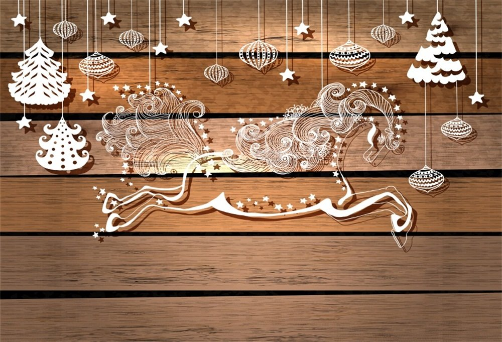 lfeey 7 x 5ft木製紙カットパターンクリスマスBackdropファンタジーRunning Horse木製ボード星Hanging Lanterns Xmasツリー背景フォトスタジオ小道具   B07FH8BGHT