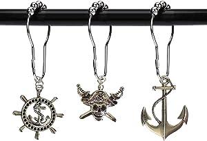 Aimoye Nautical Shower Curtain Hooks Rings - Pirate Skull, Anchor, Rudder Decorative Bathroom Accessories Set, Silver Metal Window Curtain Hangers, Tropical Ocean, Beach, Sea Theme Bathroom Decor