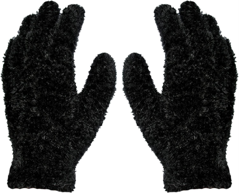 4 Paar Kuschel - Plüsch - Handschuhe Magic Gloves Schwarz