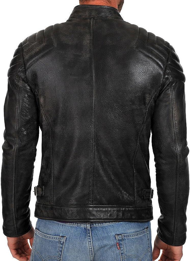 Mens New Genuine Cow Leather Designer Mens Motorcycle Biker Jacket KC175