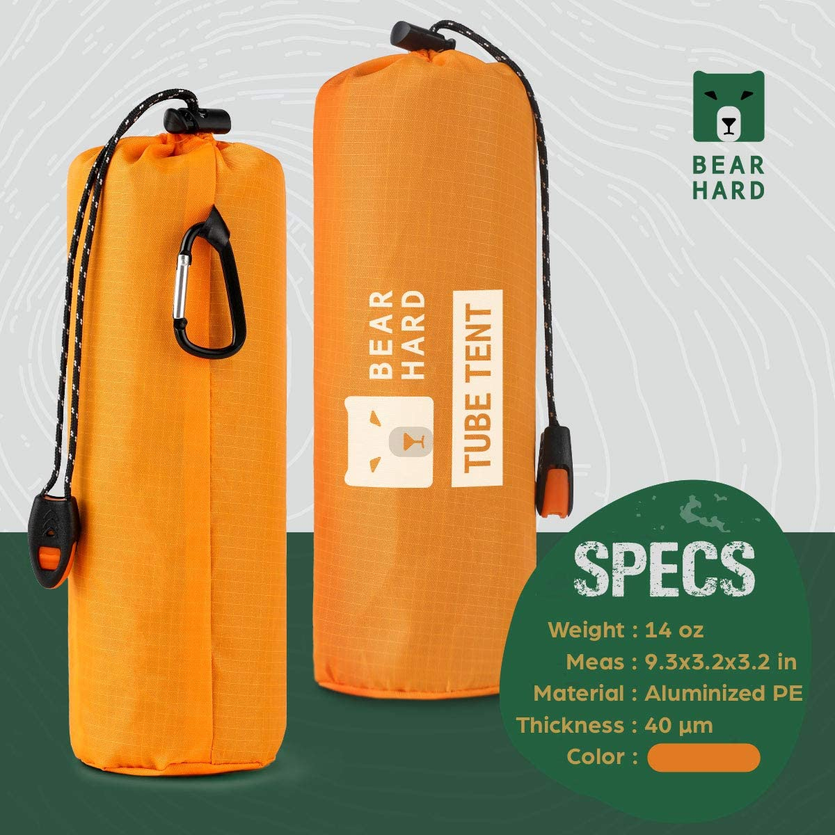 Hiking Kayaking 2 Person Tube Tent Survival Shelter with Paracord Stakes Ultralight Survival Tent Emergency Shelter Use as Survival Gear Space Blanket for Camping Bearhard Emergency Tent