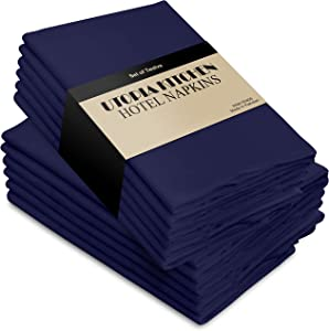 Utopia Kitchen Cloth Napkins 18 by 18 Inches, 12 Pack Navy Dinner Napkins, Poly Cotton Soft Durable Napkins
