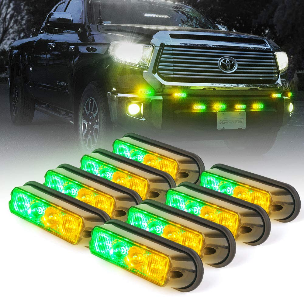 Xprite Amber Yellow & Green 4 LED 4 Watt Emergency Vehicle Waterproof Surface Mount Deck Dash Grille Strobe Light Warning Police Light Head with Clear Lens - 8 Pack