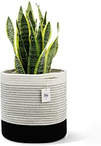 "POTEY 700301 Woven Cotton Rope Plant Basket for 10"" Flower Pot Floor Indoor Planters, 11"" x 11"" Decorative Basket for Plants Storage Basket Organizer Modern Home Decor, Black and White Mix Stripes"