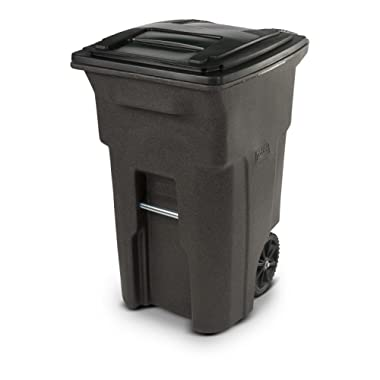 Toter 25564-R1279 Residential Heavy Duty Two Wheeled Trash Can, 64 gallon, Brownstone