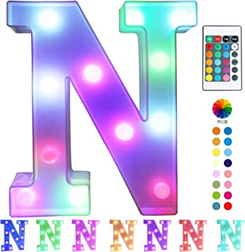Pooqla Colorful LED Marquee Letter Lights with Remote – Light Up Marquee Signs – Party Bar Letters with Lights Decorations for The Home - Multicolor N