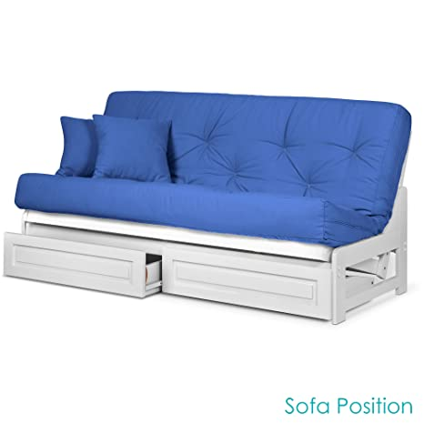 Brilliant Nirvana Futons Arden White Futon Frame With Storage Drawers Full Or Queen Size Solid Hardwood Armless Sofa Bed Frame Construction Space Saving Creativecarmelina Interior Chair Design Creativecarmelinacom