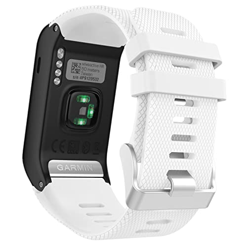 MoKo Garmin vívoactive® HR bracelet, Replacement WatchBand Wristband en Silicone souple Band pour Garmin Vívoactive HR Montre multisports cardio poignet, Blanc