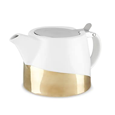 Pinky Up 5070 Harper Dipped Ceramic Teapot & Infuser Gold Set of 1,