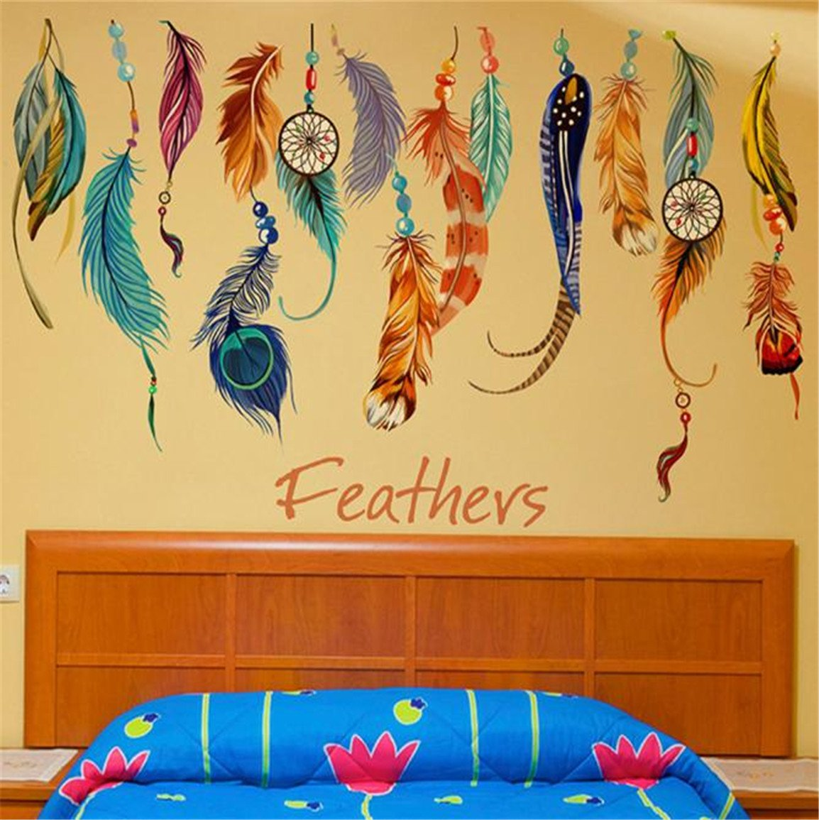 Amazon.com: HN Classic Creative Dream Catcher Feather Wall Sticker ...