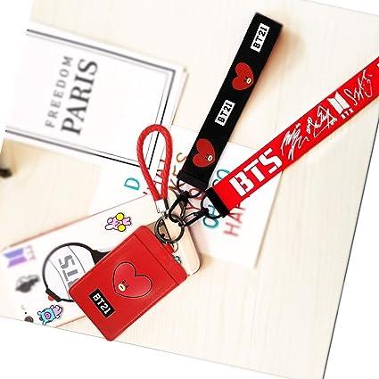b48c226b1868c9 eKoi Kpop BT21 Lanyard ID Card Badge Holder Bantan Boy BTS Keyring Keychain  Clip Detachable Neckhanger