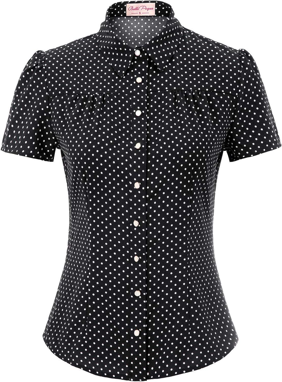 Belle Poque Women's Polka Dots Shirt Tops 1950s Retro Short Sleeve Blouse Tops