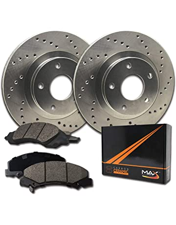 2015 for Toyota Prius V Rear Premium Quality Cross Drilled and Slotted Coated Disc Brake Rotors And Ceramic Brake Pads - For Both Left and Right One Year Warranty Stirling