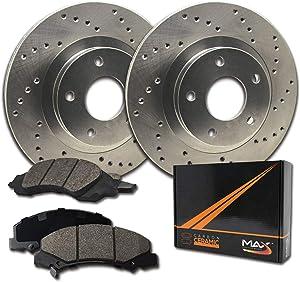 Max Brakes Front Performance Brake Kit [ Premium Cross Drilled Rotors + Ceramic Pads ] KT128321 | Fits: 2009 09 Hyundai Genesis 3.8L