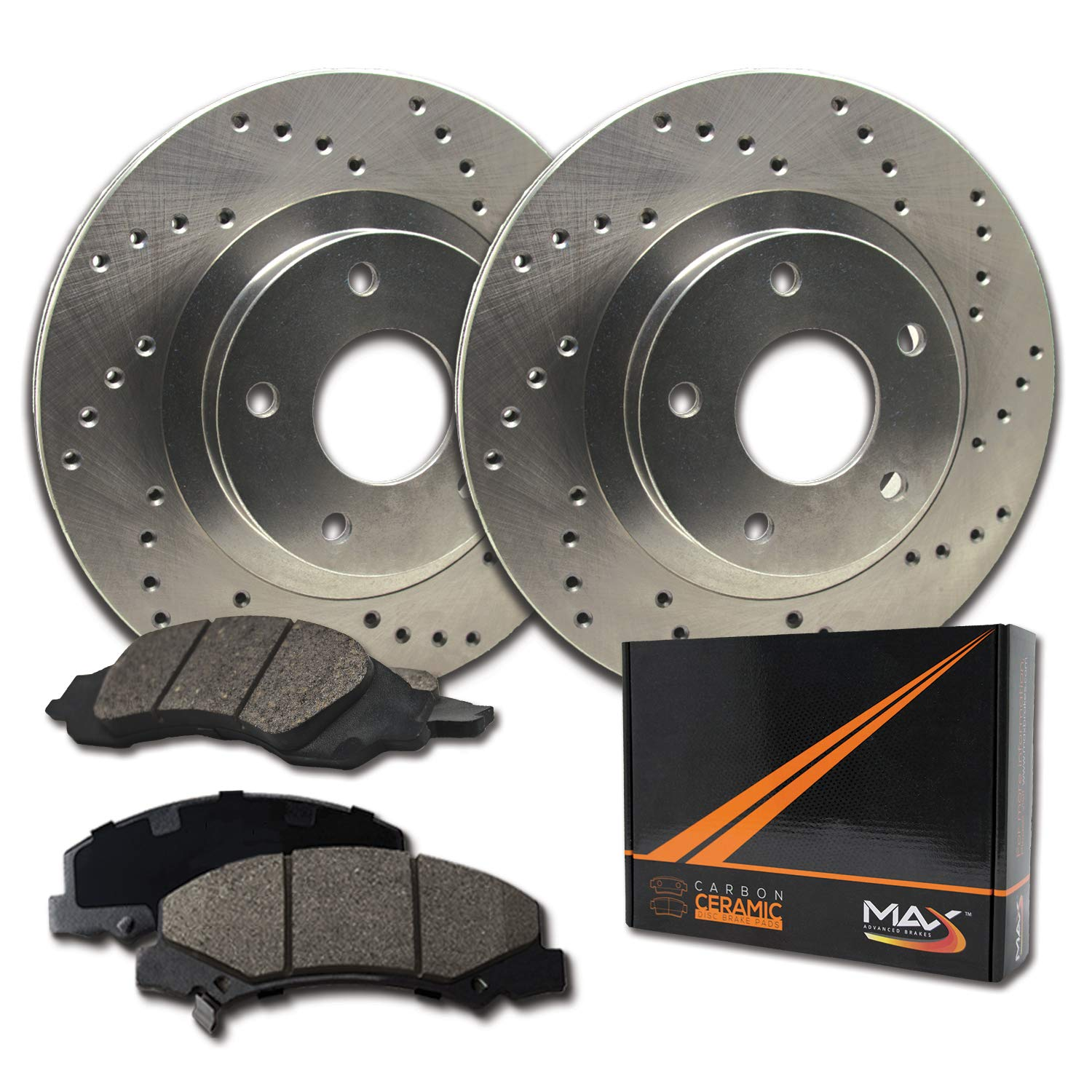 Max Brakes Cross Drilled Rotors w/Ceramic Brake Pads Front Performance Brake Kit KT049821 [Fits:2004-2007 BMW 525i 530xi ] Max Advanced Brakes