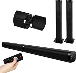 TV Sound bar with Bluetooth, Optical/AUX/USB/TF/RCA Connection, 2 in 1 3D Surround Speaker for TV Home Theater Speaker Home Audio System for TV/Gaming,4 Driver Speakers, Remote Control,40W 37-Inch