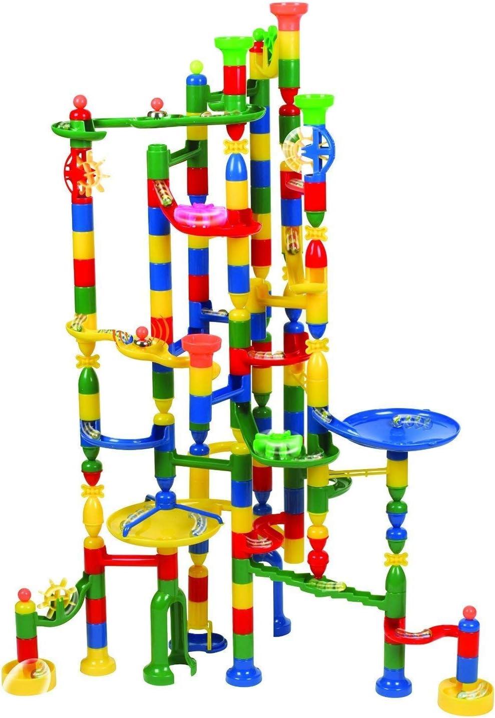 36X18X42.5cm Pista de carreras de m/ármol laberinto de m/ármol STEM Tower Toy para 4 a/ños 113 piezas 30 canicas de vidrio y 83 bloques de construcci/ón Juegos de carreras de m/ármol m/ás nuevos