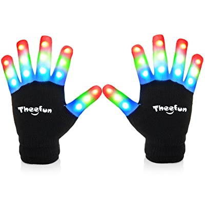 Theefun Led Gloves with Extra 4 Batteries, Finger Light Up Flashing Gloves Party Costume Glow Toys for Novelty, Christmas, Large: Toys & Games