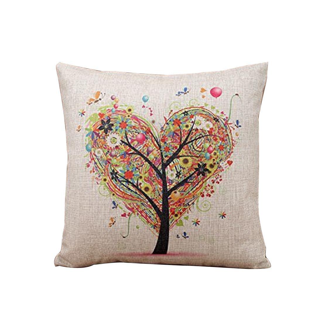 Herz - förmige Baum Leinen Square Throw Flachs Kissenbezug Dekorative Kissen Kissenbezug 45 cm * 45 cm LCLrute (Beige)