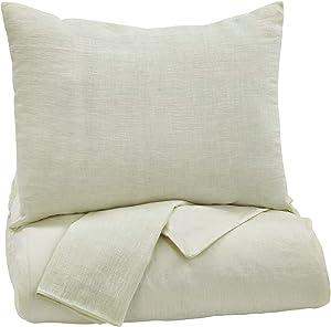 Ashley Furniture Signature Design - Bergden Duvet Cover Set - Includes Duvet & 2 Shams - Queen Size - Ivory