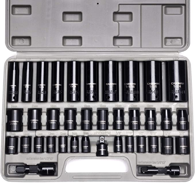 Deep Socket And Accessory Set 8-24mm 28pc 3//8 Drive Metric MM Shallow