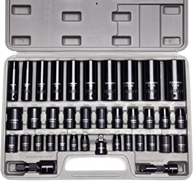 6 Point Metric Socket Set ABN Impact Socket Set 18 Piece 1//2 Inch Deep Impact Driver Sockets and Extension Bars