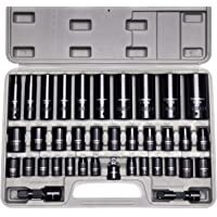CASOMAN Complete 3/8″ and 1/2€ Drive Impact Socket Set, Inch (SAE) /Metric, Cr-V, 6-Point, 3/8