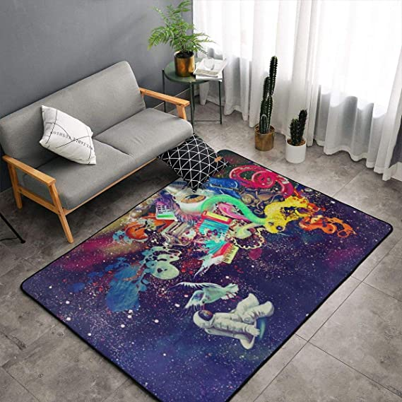 O X X O Psychedelic Trippy Astronaut Space Area Rug Non Skid Comfy Home Decorate Floor Area Rug Machine Washable Carpet For Living Room Bedroom Playroom Dinning Room Kids Playing Mat 60x39 Inches Home Kitchen