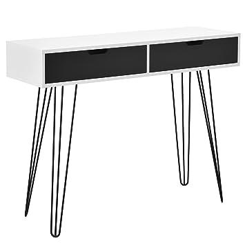 [en.casa] Design Schreibtisch Monaco/Konsolentisch / Sideboard - mit  Schubladen (weiß/Grau) - 100x33x76cm