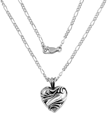 A/&G Rock Sterling Silver Heart Pendant with Figaro Chain