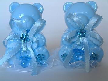 Amazonde Gastgeschenke Taufe Bären 3st Blau Tortendeko