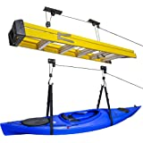 RaxGo Ceiling Garage Storage Hoist System   Pack of 2 Overhead Rack Lifts for Hanging Kayaks, Bicycles, Tools & Other Large I