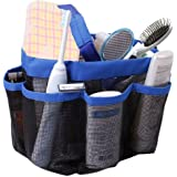 Quick Dry Hanging Toiletry and Bath Organizer with 8 Storage Compartments, Shower Tote, Mesh Shower Caddy, Perfect Dorm, Gym, Camp & Travel Tote Bag, Black