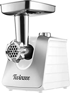 Twinzee Electric Meat Grinder and Sausage Stuffer for Ground Meat (White) - Food Processor, Meat Grinder with 3 Metal Blades and 3 Sausage Attachments - Meat Grinder For Home Use