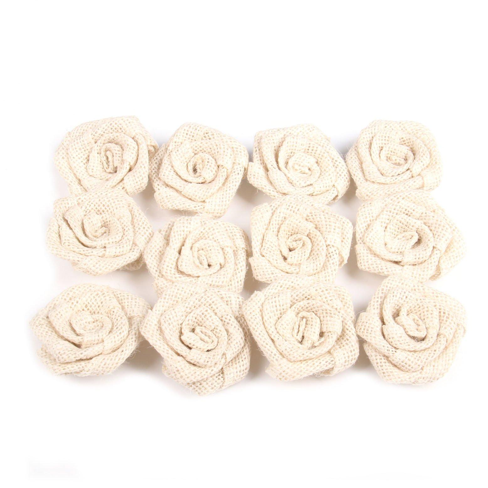 Junxia Bud Silk Linen Little Rose for Children Holiday Party Decoration Christmas Wedding Decoration 12pcs (ivory)