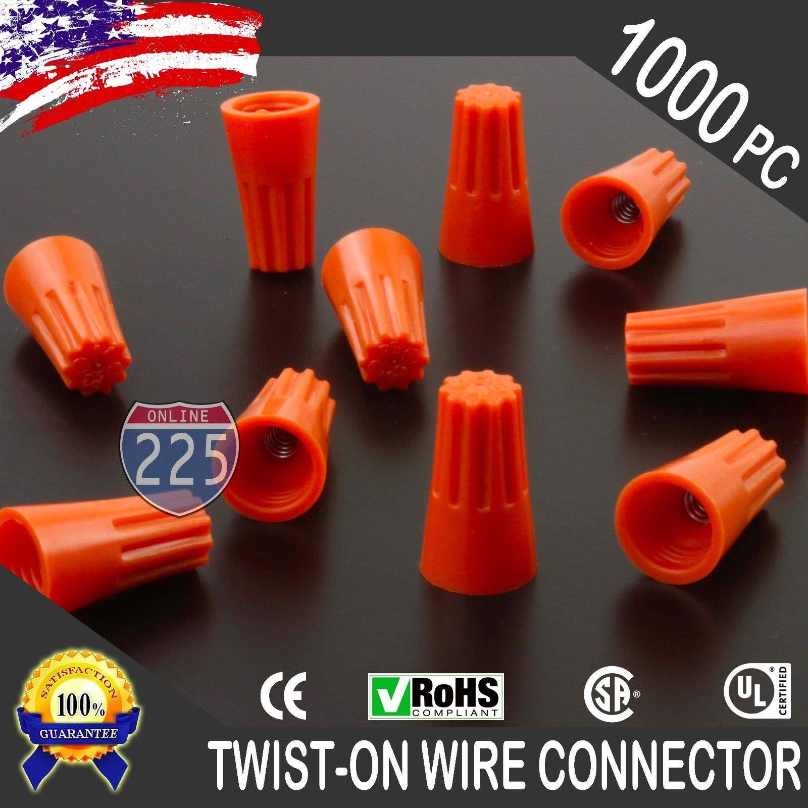 1000 PCS Orange 22-14 Gauge Twist On Wire Gard Connectors Conical Nuts Barrel Screw US