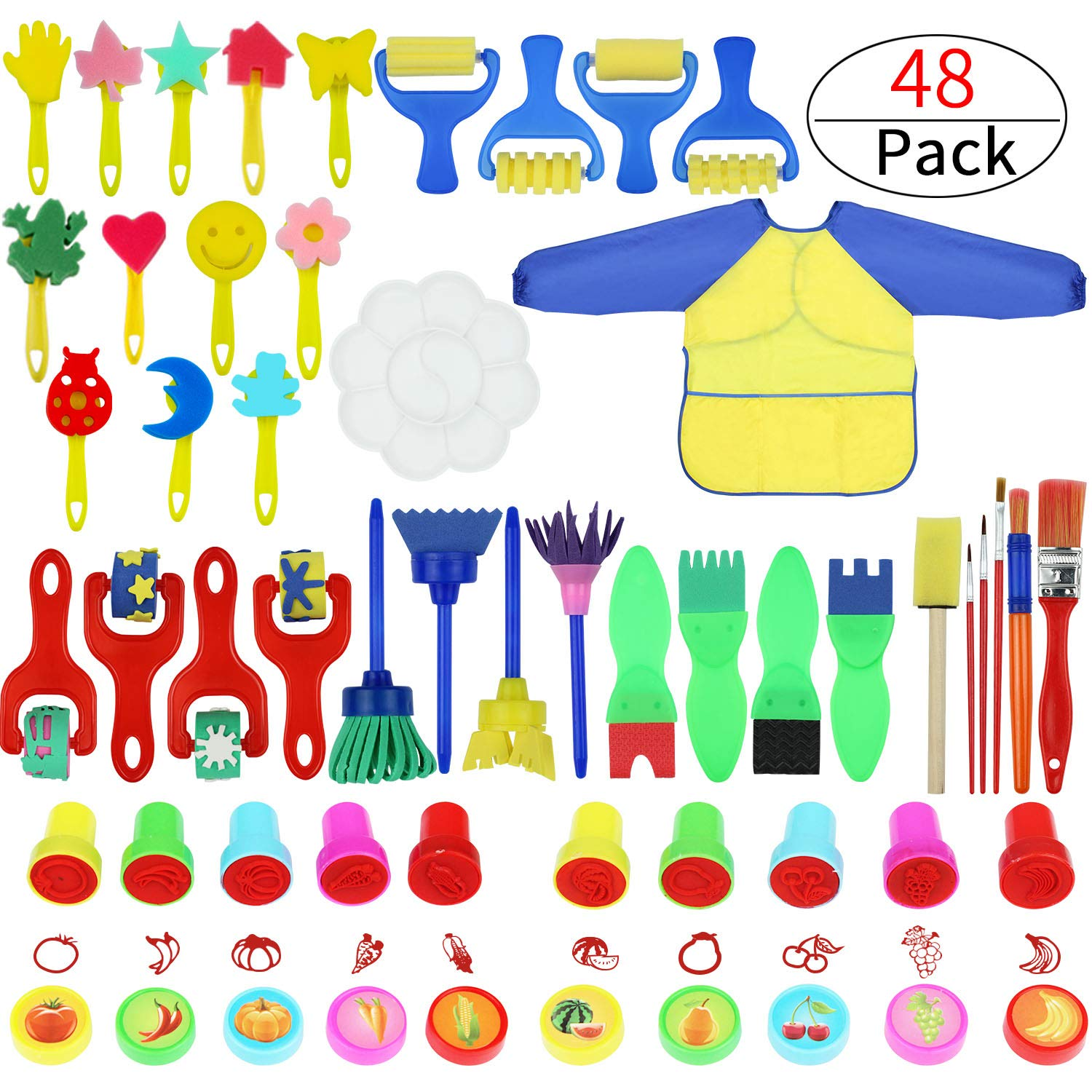 Painting Kits for Kids,Early Learning Kids Paint Set,Paint Sponges for Kids,77PCS Mini Flower Sponge Paint Brushes and Toys. Assorted Painting Drawing Tools in a Clear Durable Storage Pouch (48PCS) by Zoneyee