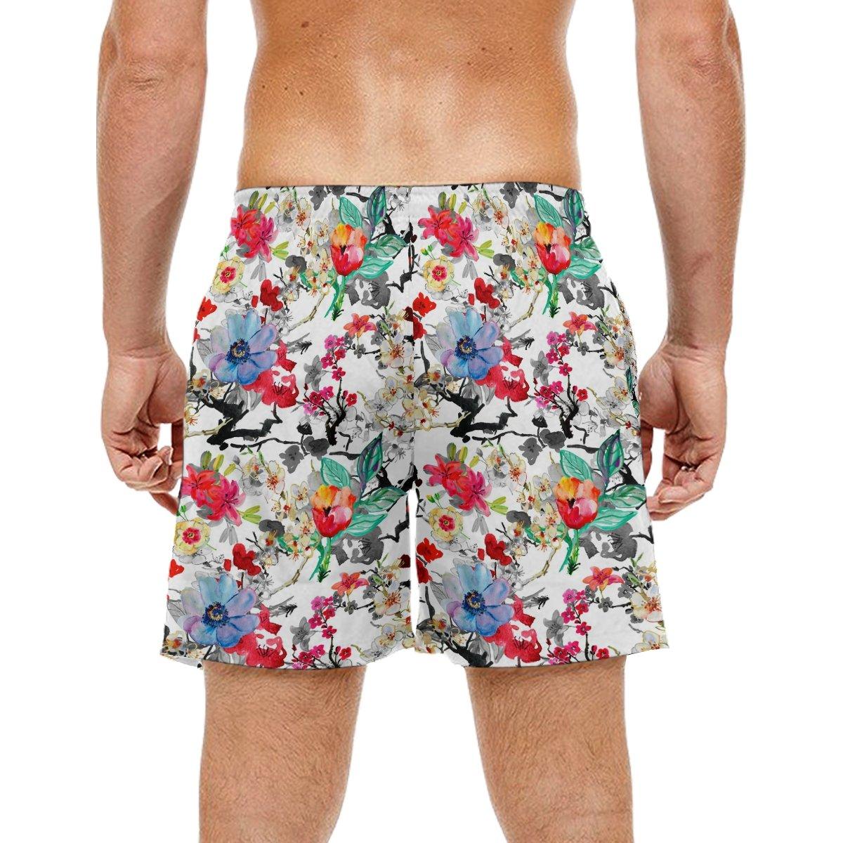 LORVIES Mens Pulm Flowers Beach Board Shorts Quick Dry Swim Trunk