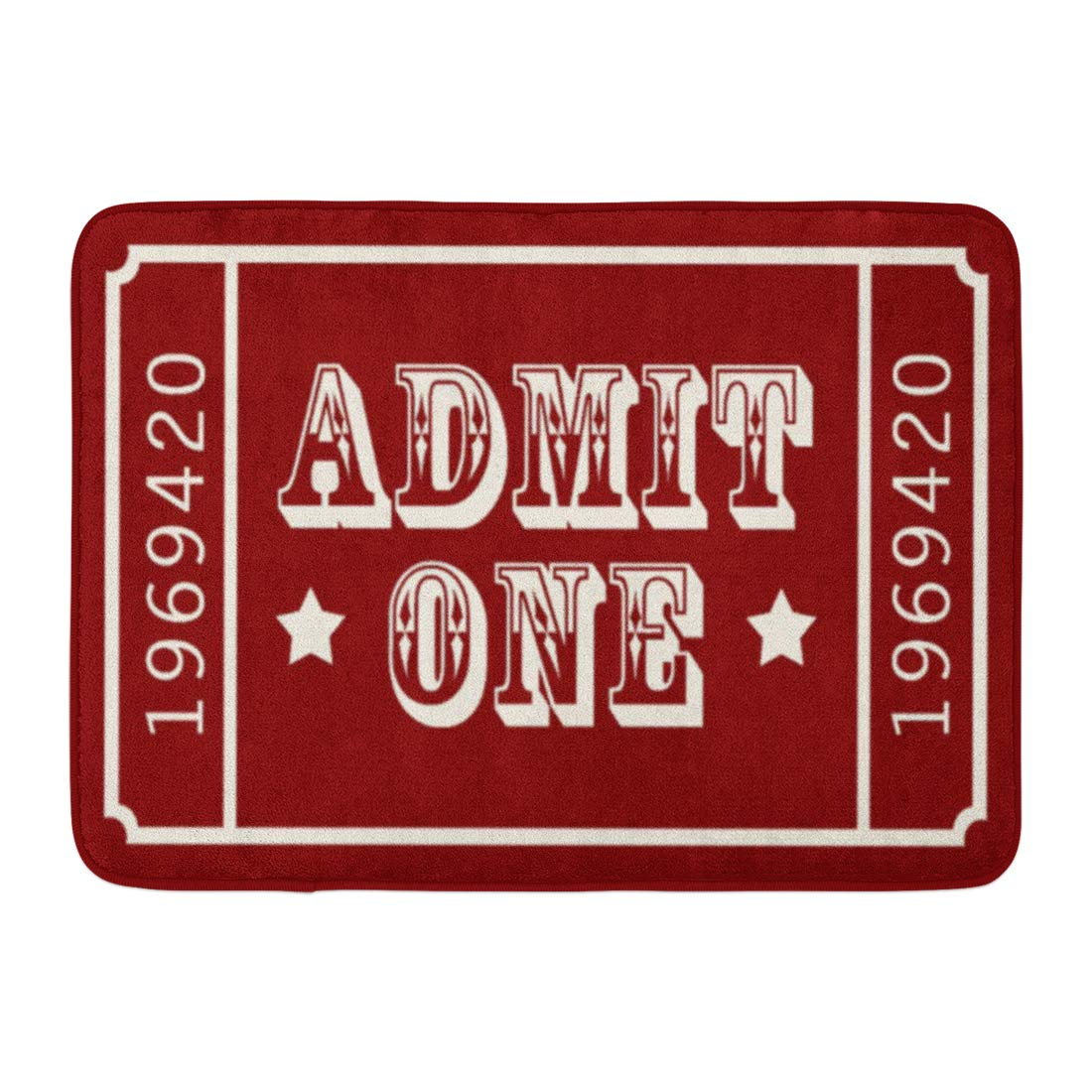 Allenava Bath Mat Red Americana Whimsical Circus Theatre Ticket Admit Movie Bathroom Decor Rug 16'' x 24''