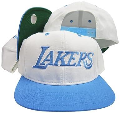 Amazon.com  adidas Los Angeles Lakers White Baby Blue Adjustable ... 2c2fd2ec69f