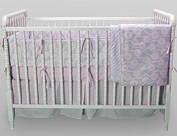 kress co modern pink and gray baby girl 9piece crib bedding set