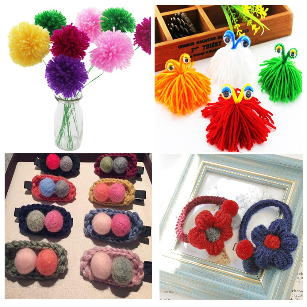 4 Size Pompom Makers,Fluff Ball Waver with 12 Skeins Acrylic Yarn Craft Tool Kit for DIY Wool Yarn Crochet Knitting